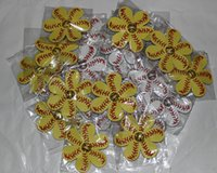 Cheap hot selling softball hair tie Yellow hair bow with baseball embellishment on choice of clip or hair tie