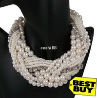 twisted pearl necklace - 2013 Fashionable Luxury Vintage Style Jewellery Multi Layer String Twist Faux Pearl Choker Necklaces Pendants