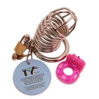Cheap Chastity Cage Male Penis Cage Bird Lock Cock Jail House Bondage Gear Kit with Butterfly Cock Ring Vibrator Adult Sex Game Toy Ship from USA