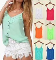 batik blouses - Summer Stylish Women Candy Color Spaghetti Chiffon Blouse Strap camisole Vest