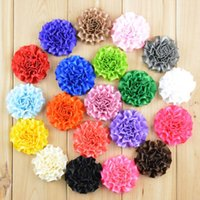 Wholesale inch Cabbage satin puff flowers Ribbon flowers