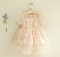 girls boutique clothes - baby boutique clothing summer white pink puff sleeve tulle girl lace dresses