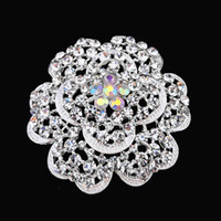 Wholesale Silver Plated Crystal Flower Alloy Pin Brooch Wedding Women New Fashion Broach B768