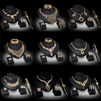 costume jewelry necklace - 2015 New Arrival African Costume Jewelry Set K Gold Plated Crystal Wedding Bridal Accessories Wedding Necklace Bangle Earring Ring Sets