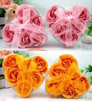 assorted soaps - 6pcs set Rose Flower Petal Soap Bath Petals Soaps Heart Good Smell Assorted Colors sets Wedding Favors and Gifts