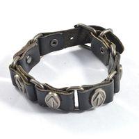 arrows symbols - Fashion antique silver alloy arrow symbol rivets pin buckle bracelet pu leather bracelets jewelry for men SB01312