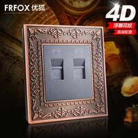 Wholesale Excellent Fox switch socket panel phone jack panel D double embossed genuine wall switch panel