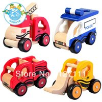 dump truck - New arrival for police car bulldozer dump car fire truck wooden car model toy