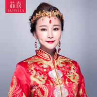 Wholesale Hi Sue married bride costume headdress red dragon and phoenix gown Coronet Haberdashery Hair Xiu Chinese wedding accessories