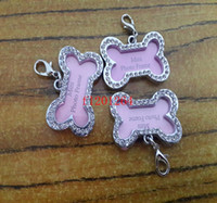 big dog photos - 500pcs Big Size x25mm Rhinestone Bone Shape Pet Photo Frame Dog Tag Pink Pet Cat Collar Tags