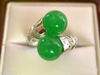 Wholesale gt gt gt gt gt Beautiful Tibet silver natural green jade ring size