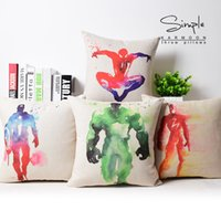 core not included america paintings - Watercolor Paintings Hero Captain America Batman Spider Man Iron Man Superman Cushion Cover Pillow Case Linen Cotton Cushions Pillows Covers