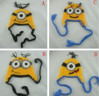 Wholesale 4 Design Despicable me crochet hats NEW Baby cartoon minions Costume Handmade Crochet Knitted Hat Animal Mouse Head Beanie Caps