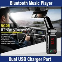 Wholesale Universal Car Accessories mini car charger bluetooth handsfree with double USB charging port V A LCD U disk FM broadcast Mp3 Player OM CD4