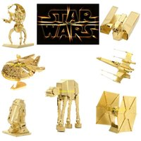 Wholesale Golden Star Wars D Models Styles DIY Metallic Nano Puzzle no glue required For adult Chirstmas gift Free DHL TNT