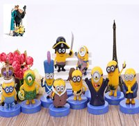 Wholesale 100Sets Hot Movie Minions PVC Action Figures Toy with Base Cosplay Vampire Primitive Pirate cm Minion Doll Free DHL