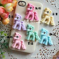 beauty pony - New Little Pony Ma Baoli pony rainbow flat resin jewelry accessories diy mobile beauty Materials