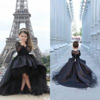 Wholesale High Low Girls Flower Dresses Hot Black Long Sleeve Pageant Dress For Kids A line Kids Formal Wear Birthday Party Communion Dresses