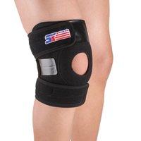 Wholesale Black Adjustable Sports Elastic Warm Leg Knee Support Brace Wrap Protector Pad Patella Guard Spring Bars SX625 H13260