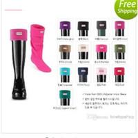 fleece socks - 2015 style hunter rainboots socks high rain shoes welly polar fleece women or men rain boots socks