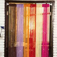Wholesale 6 Colors Door Window Room Home Decoration m m Decorative String Curtain Blind Fringe Hanging Stripe Polyester