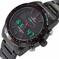 analog travel clock - Brand Men Travel Collection Watch Samural Japan Dual Dial Style Clock Waterproof Quartz Mens Military Digital Sports Wristwatch