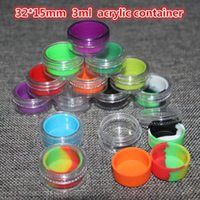 acrylic cosmetic containers - 3ml acrylic outside with silicone inside wax container food grade silicone jar acrylic with silicone container for oil or cosmetic
