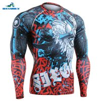Wholesale CFL Polyester Long Men Compression Muay Thai T Shirt Skin Tights Top King Boxing Jersey PRO Wrestling Clothes Wear Ropa Boxeo
