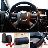 Wholesale New Universal PU Leather DIY Car Steering Wheel Cover Case With Needles Black Red Color Thread