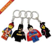 Wholesale 1PCS New Lego Movie Super Heroes Novelty Cartoon Keyrings Keychains Kawaii Keyfob soft PVC key chains Cartoon Character Key Chains For Kids