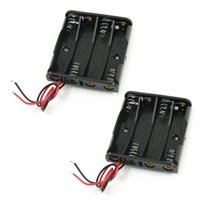 Cheap FS Hot 2Pcs Rectangle Plastic 4 x 1.5V AAA Battery Holder Box w Wire Leads order<$18no track