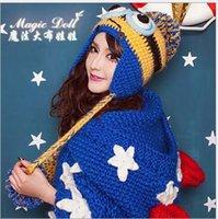 Wholesale Pinbo Women Two Eyes Yellow Crochet Despicable Me Minion Beanie Knit Wool Hat Ski Cap