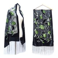 beautiful tulips - 2016 New Winter Green Tulip Velvet Sarves Women Beautiful Burnout Evening Shawl For Lovers Gift