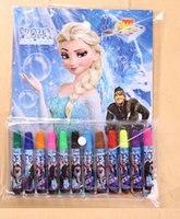 Wholesale Frozen Painting Pens Drawing Book set for children kids study Drawing papers markers art sets