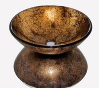 art real estate - 4272 Brown Colorful Painting Construction Real Estate Bathroom Round Art Washbasin Tempered Glass Vessel Sink