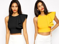 Wholesale 2016 New Summer Fashion Women Sexy Black Yellow Crop Top One Shoulder Ruffle Sleeve T Shirts Solid Casual Stretch Tops Slim T Shirts