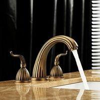 Wholesale Widespread Bathroom Sink Faucet Bath Tub Basin Mixer Tap Antique Brass Finish Two Handles Top Quality WONDLOV WH6925