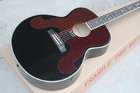 Wholesale Top Quality Spruce Top Fishman Pickup Black Acoustic Electric Guitar