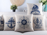 adventure boat - Ocean Voyage Adventure Series Cushions Pillows Covers Land Sea Boat Anchor Compass Lifebuoy Cushion Cover Sofa Seat Linen Cotton Pillow Case