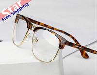 Wholesale metal half rim glasses popular new male fashion vintage leopard lady plain glass spectacles frame