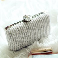 beaded fashion frames - Silver Crystal Pearl Bridal Hand Bags Evening Party Clutches Box Shaped Bags Clutch Evening Bags Handbag New Fashion Wedding