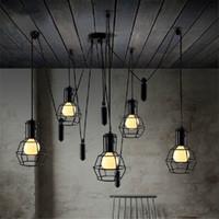 15 ~ 20sq.m america kitchen - America chandelier loft pendant Lamp adjustable Retro chandelier e27 bulb industrial lighting chandelier Dining Room vintage pendant light