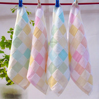 Wholesale New Baby Bathroom Hand Towels Plaid Cotton Small Square Shaped Towels Home Textile CM JQ0008