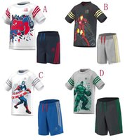 sport clothing wholesale - 2015 NEW summer The Avengers Iron Man Captain America spider man Hulk set Sport boy leisure suit Children s Outfits Kids Clothing colors