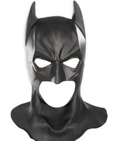 Wholesale Batman Begins Cowl The Dark Knight Adult Batman Latex Full Mask Hood Silicone Halloween Party Black Mask Cosplay Black mask