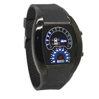 digital watches - New Fashion Cool Flash LED Digital Watch Innovative Car Meter Air Race Sports Dial Led Electronic Binary Watches Mutilcolor