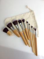 bamboo sack - hot sale set Carbonized bamboo makeup brush set professional facial makeup brush set cosmetic make up tools with sack D019