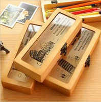 Wholesale handmade New Retro Wooden Pen Pencil Case Vintage wooden stationery box Century architectural pattern