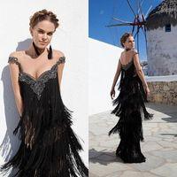 Cheap 2015 tarik ediz Gorgeous Tassels Prom Dresses Black Sheath Off-Shoulder Evening Dresses Appliques Sexy Layed Ladies Party Dresses YU3008