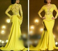 Cheap 2015 Long Sleeve Prom Dresses O Neck Yellow Lace Chiffon Peplum Pleated Sweep Train See Through Mermaid Womens Formal Evening Dress Gowns